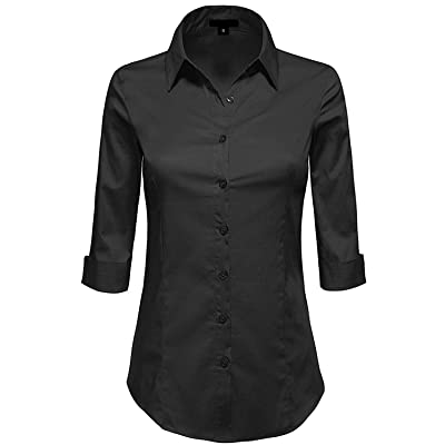 MAYSIX APPAREL 3/4 Sleeve Stretchy Button Down Collar Office Formal Casual Shirt Blouse for Women Fit (XS-6XL): Clothing