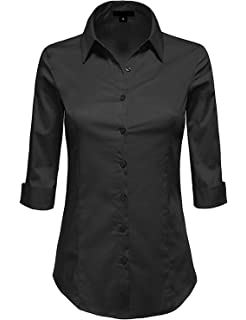 8b8002279 MAYSIX APPAREL 3/4 Sleeve Stretchy Button Down Collar Office Formal Casual Shirt  Blouse for