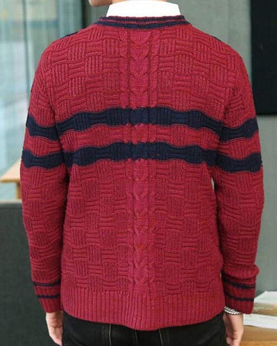 BLTR Men Fashion Plus Size Contrast Color Striped V Neck Pullover Sweater