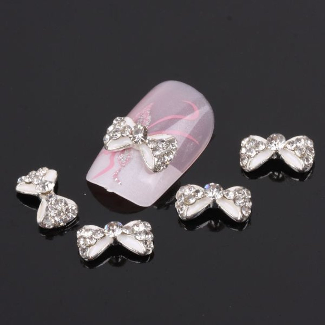 Nail Hall 10pcs 3D Bow Nail Art Bling Rhinestones Tips Diy Nail Decoration