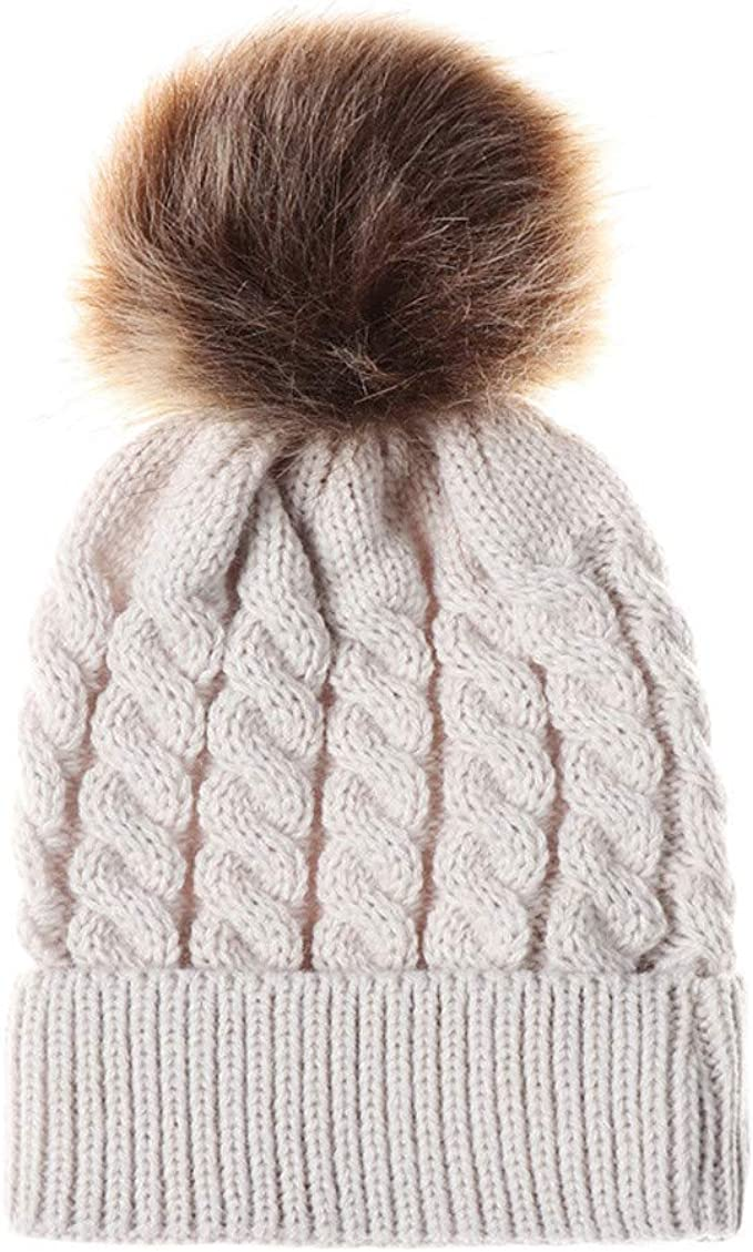 2019 New Hat Acrylic Fibres Knitting Hat Keep Warm Winter Fur Ball Hat Cap