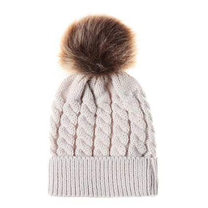 077c75c0d8e Amazon.com  Gbell Cute Newborn Toddler Winter Beanies Hats Baby Boy Girl  Cotton Knitted Hat Warm Pom Pom Ball Cap for Kids Age 6 Months - 3 Years  Old  ...