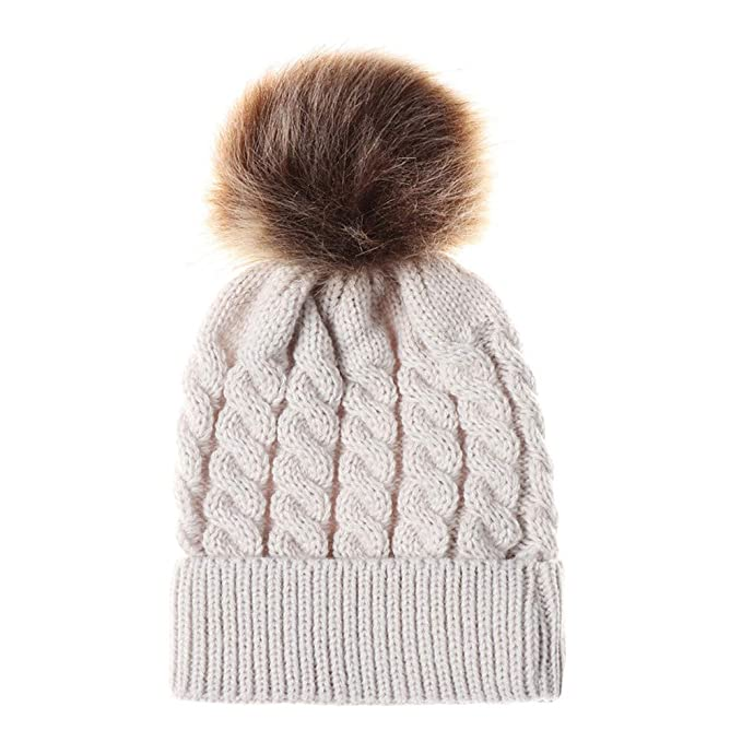 c7e6878e2e0 Lovely Baby Girls Boys Kids Winter Hat Knitted Beanie with Large Pom Pom  Cap Ski Snowboard Hats Bobble (Beige)  Amazon.co.uk  Clothing