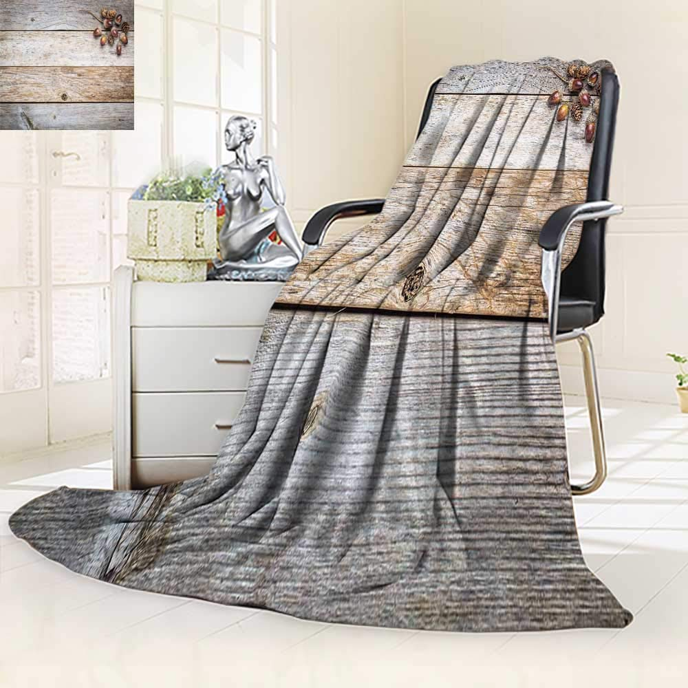 YOYI-HOME Digital Printing Duplex Printed Blanket Weathered barn Wood with Acorns and Cones Fall ation Summer Quilt Comforter/47 W by 79'' H