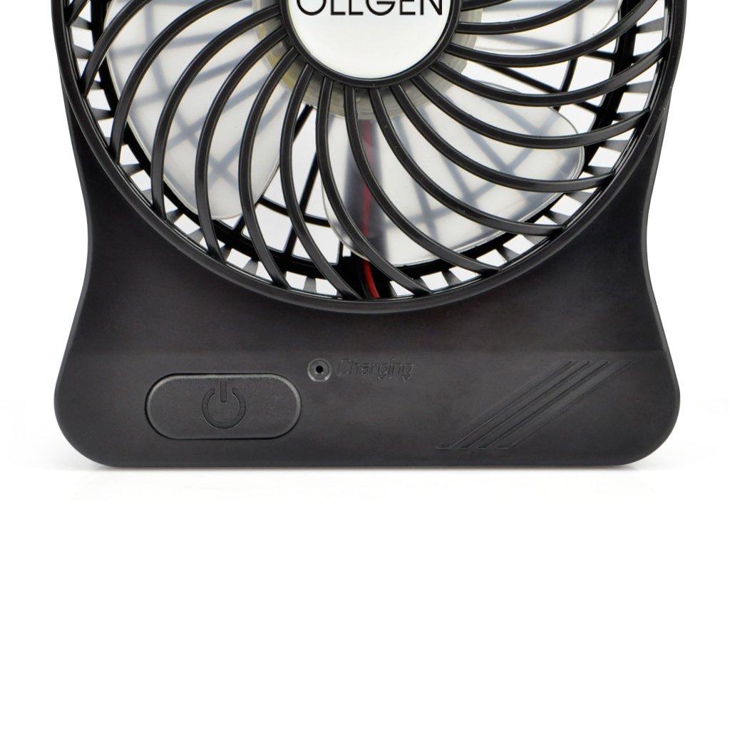 OLLGEN 18650 Battery Operated Fan 2 Wind Speeds Personal Desk Fan with Rechargeable Small Table Cooling Fan Black