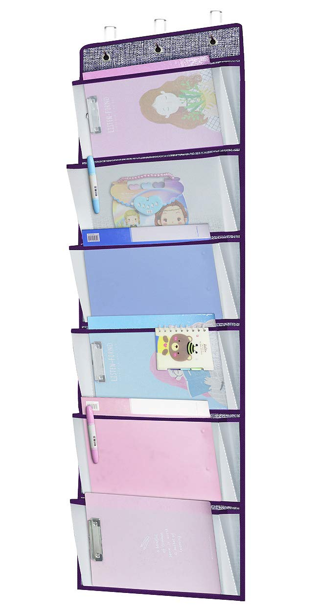 Onlyeasy Over The Door Fabric Office Supplies Storage Organizer - Foldable Hanging Organizer for Bedroom Baby Room Office, 17.7'' x 50.4'', 6 Transparent Pockets, Purple Terry, 7MXPPZ06C