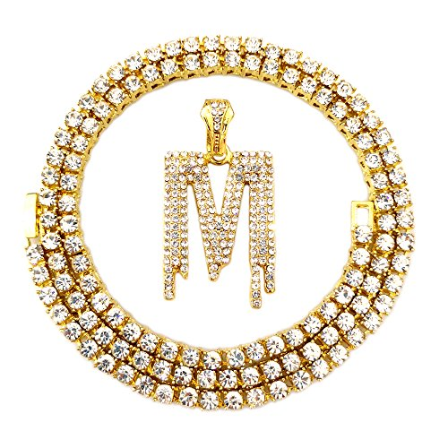 Out Hip Hop Gold Faux Diamond Bubble Dripping Letter Tennis Chain Necklace 20 Inch (Dripping Letter M) ()