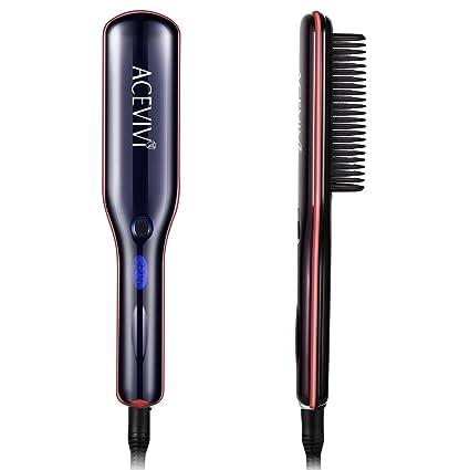 acevivi 2 en 1 glättung Cepillo Pelo multifunción calentamiento rápido para pelo alisado y Rizos