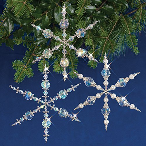 Snowflake Beaded Ornaments (Solid Oak Kit Beaded Ornament Vintage Snowflakes Orn Vintagesnowflake)
