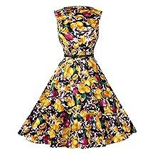 Dasbayla Ladies 1950s Vintage A-Line Swing Dresses with Belts 10 Color S-XXL