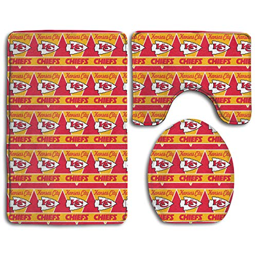 - Marrytiny Design Colorful Non Slip 3 Piece Doormat American Football Team Kansas City Chiefs Anti-Skid Bathroom Rug Set Bath Mat + Contour Rug + Toilet Lid Cover