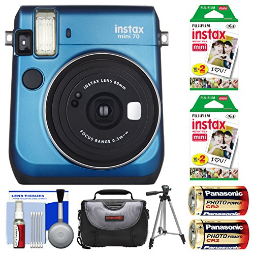 Fujifilm Instax Mini 70 Instant Film Camera (Blue) with 40 Prints + Case + Batteries + Tripod + Kit by Fujifilm