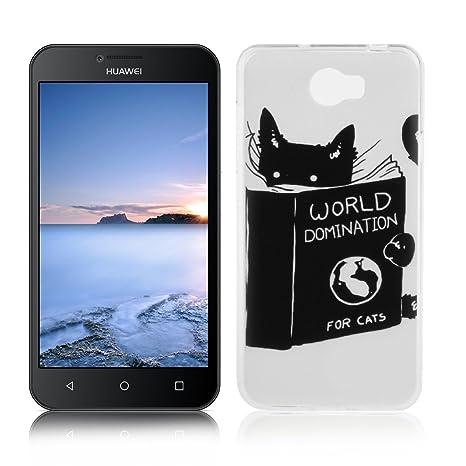 OuDu Funda para Huawei Y5 II/Y5 2 Carcasa Protectora Caso Silicona TPU Funda Suave Soft Silicone Case - Lindo Gato