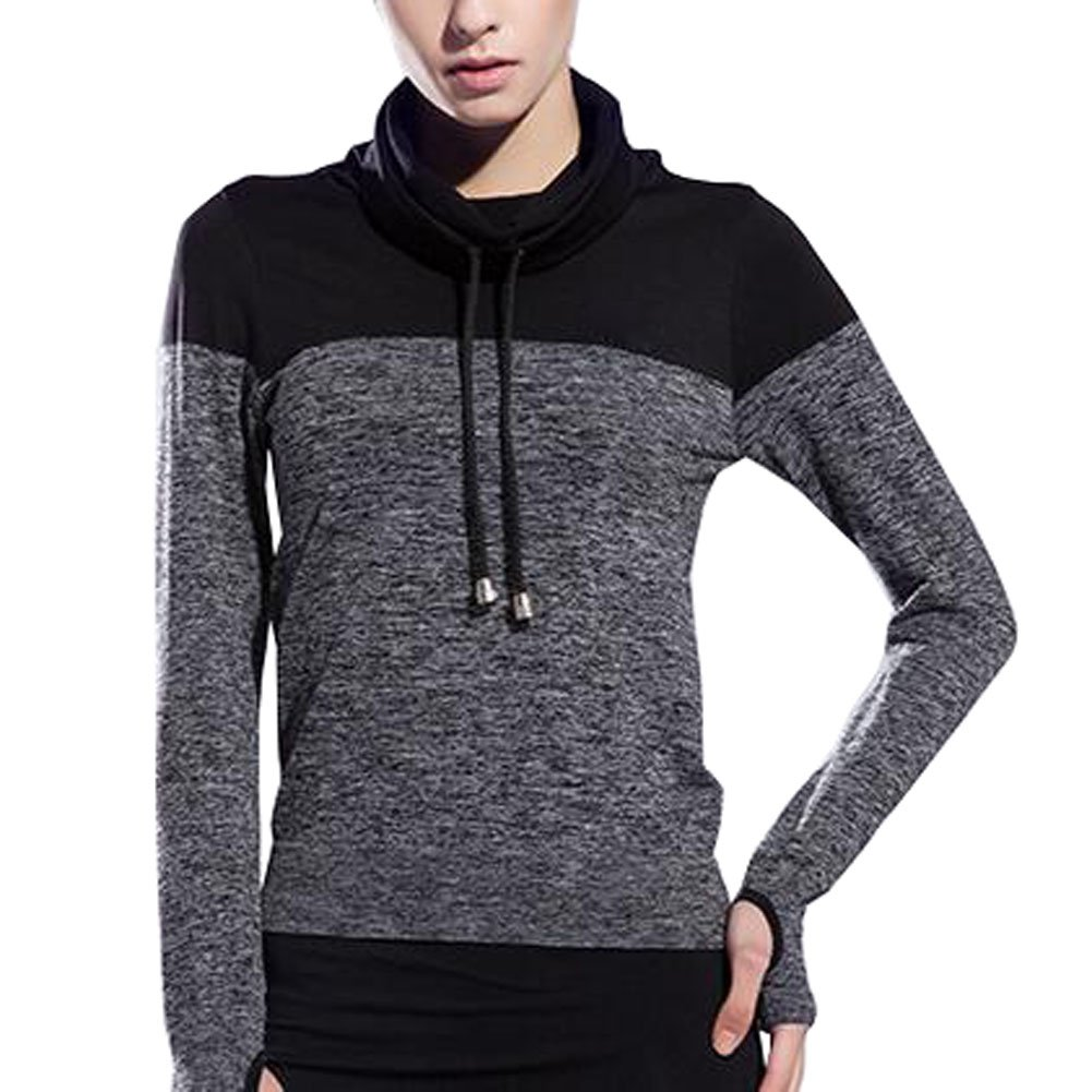 VOGUE CODE High Neck Quick Dry Running T-shirt High Elasticity Outwear Sweat Absorption T-shirt (S, gray) by VOGUE CODE