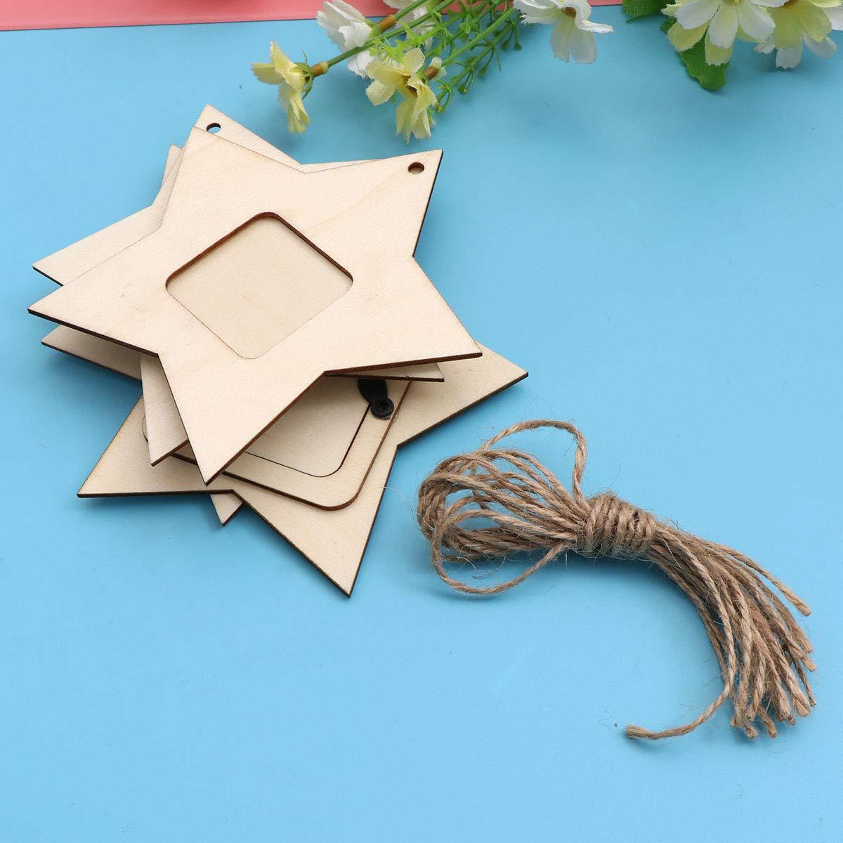 Supvox Mini colgante de madera de cinco puntas con forma de estrella y marco de fotos que cuelga para el hogar 10 piezas