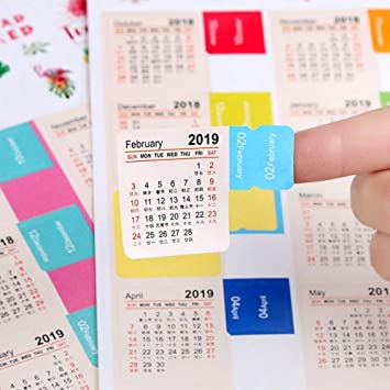 2019 Calendar Stickers, Latest Version Small Monthly Calendar for Journal/Bullet/Planner/Appointment/Agenda Self Adhesive Tabs, 15-Month from January ...