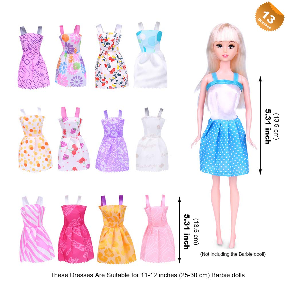 b1dc3517720 Amazon.com  EuTengHao 123Pcs Doll Clothes and Accessories for Barbie Dolls  Contain 13 Party Gown Outfits Dresses for Barbie