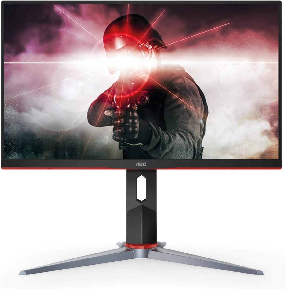 "AOC 27G2 27"" Frameless Gaming IPS Monitor, FHD 1080P, 1ms 144Hz, NVIDIA G-SYNC Compatible + Adaptive-Sync, Height Adjustable, 3-Year Zero Dead Pixel Guarantee, Black/Red"