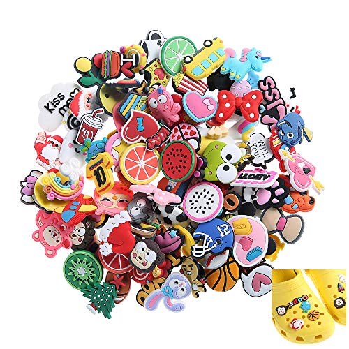 (Felice Arts 100pcs Different Shape Shoes Charms Fits for Croc Shoes & Wristband Bracelet Party Gifts)