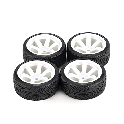 Liobaba for AUSTAR AX 4pcs 64mm Hard Plastic Rim Tyre Tire Wheel for 1/10 RC Drift Car Model HSP HPI Component Spare Parts Accessories: Garden & Outdoor [5Bkhe0203603]