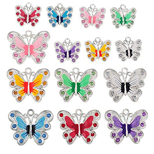 RUBYCA Silver Plated Butterfly Enamel Charm Beads Pendants for Jewelry Making DIY 56pcs - Butterfly Plated Silver