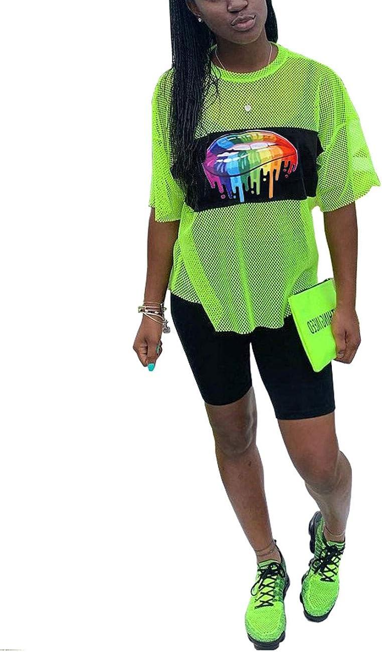 Akmipoem Womens 2 Piece Shorts Outfit Lip Print Mesh T-Shirt Top and Short Pants Tracksuit Set