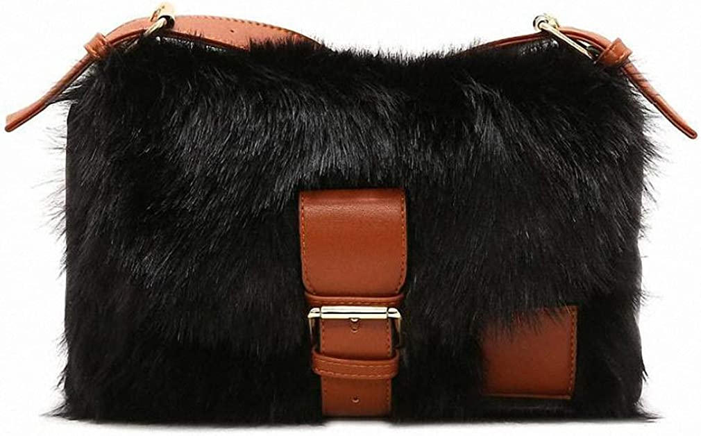 Nyusdar Winter Faux Fur Women Shoulder Bags Leather Crossbody Messenger Bag