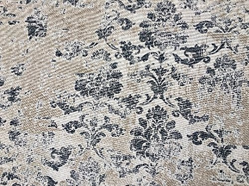 LushFabric Antique Vintage Damask Print Fabric Baroque Material for Curtains Upholstery Dressmaking - 110'' extra wide - Grey & Cream Canvas (sold by the Yard)