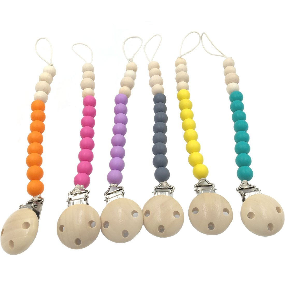Amyster Silicone Teething Grey Stone Dummy Baby Pacifier Clip Natural Wood Beads Mom Nursing Waldorf Teether Grey