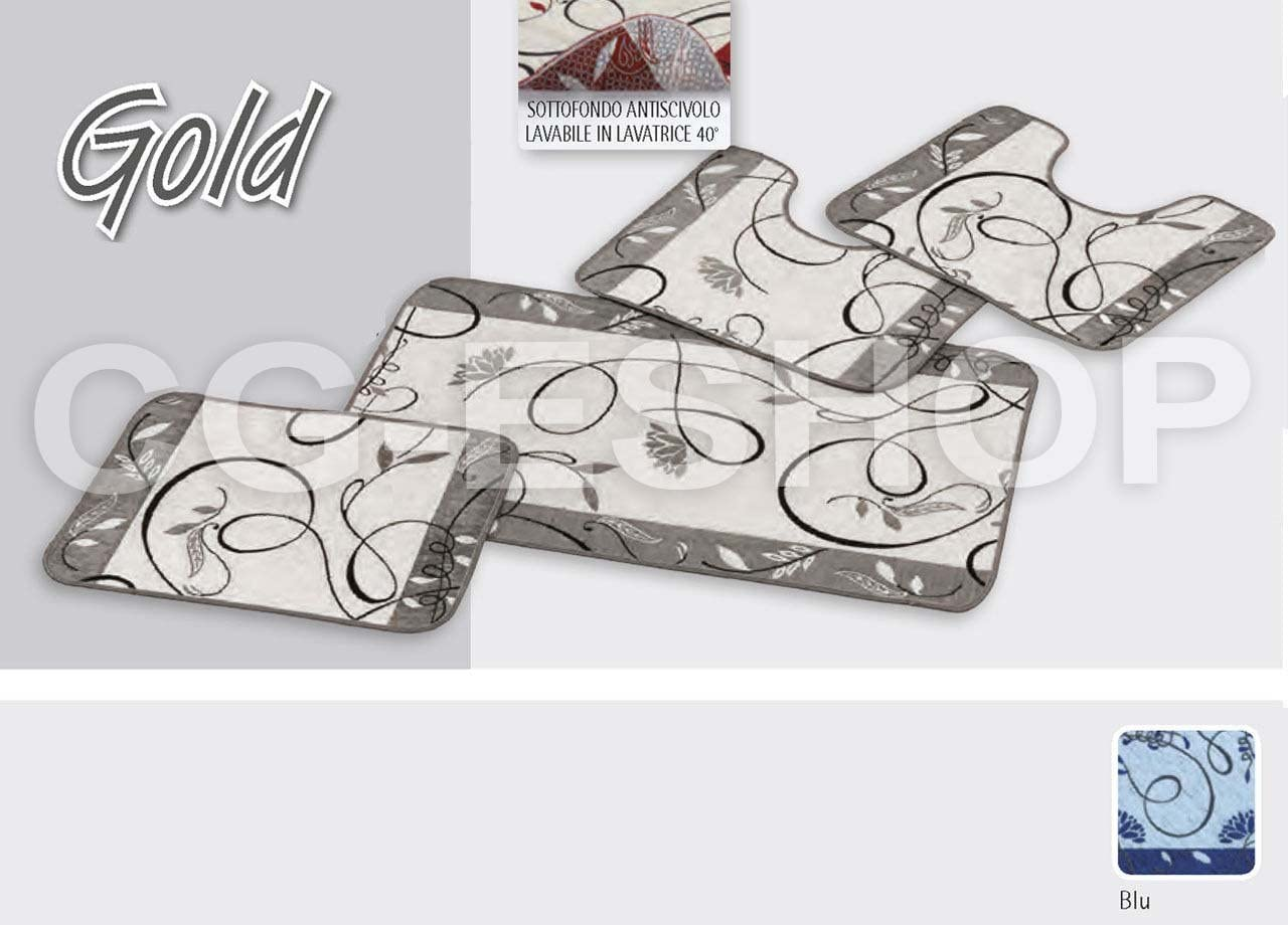 Confezioni Giuliana PARURE Bagno 4 Pezzi Tappeto Beige Giro Water Foglie Fiori Shabby Moderno