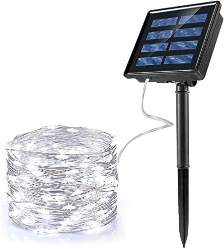 Ankway Solar String Lights White 200 LED 3-Strand Copper Wire Solar Fairy Lights 8 Modes 72 ft Solar Powered String Lights Waterproof IP65 LED Twinkle Lights Outdoor Patio Garden Tree Indoor Party