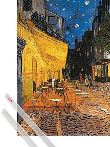 1art1 Vincent Van Gogh Póster 91x61 Cm Terraza De Café Por La Noche Place Du Forum Arlés 1888 Y 1 Lote De 2 Varillas Transparentes