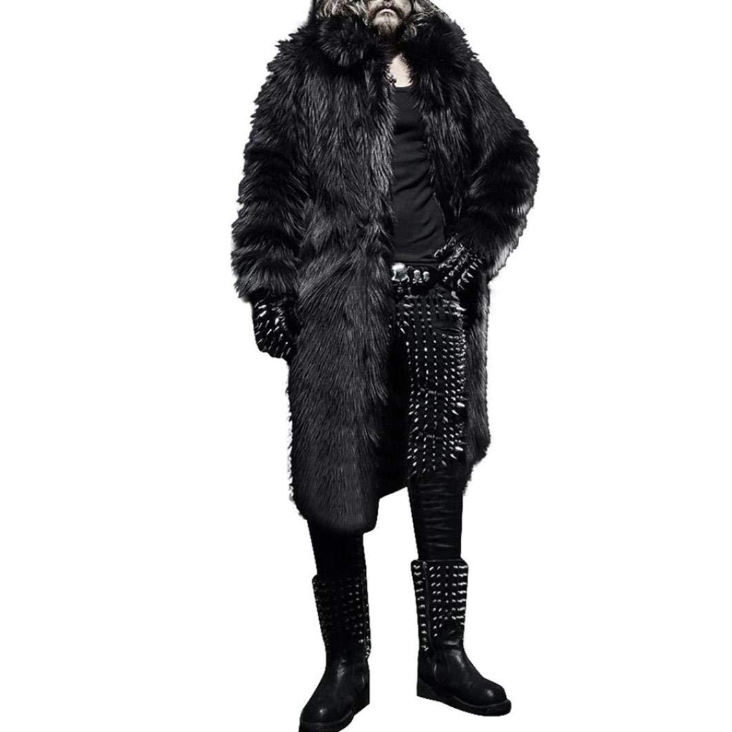 HTHJSCO Mens Faux Fur Coat Thicker Long Jacket Warm Overcoat Outwear Cardigan (Black, XL)