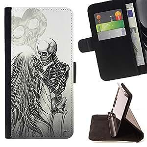 BullDog Case - FOR/Samsung Galaxy S6 EDGE / - / LOVE DEATH METAL SKELETON SKULL WHITE /- Monedero de cuero de la PU Llevar cubierta de la caja con el ID Credit Card Slots Flip funda de cuer