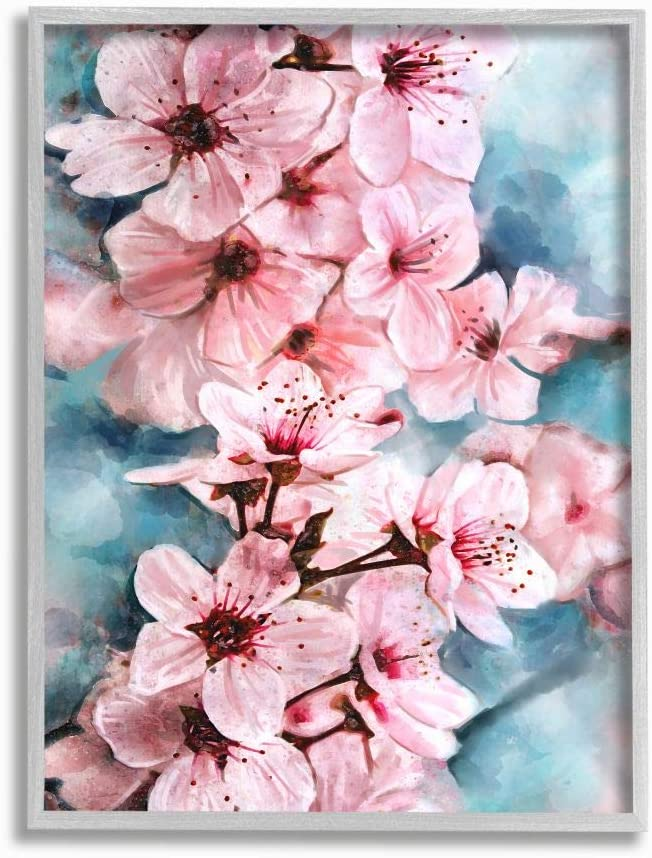 Stupell Industries Branch of Blooming Cherry Blossoms Pink Blue Wall Art, 11 x 14