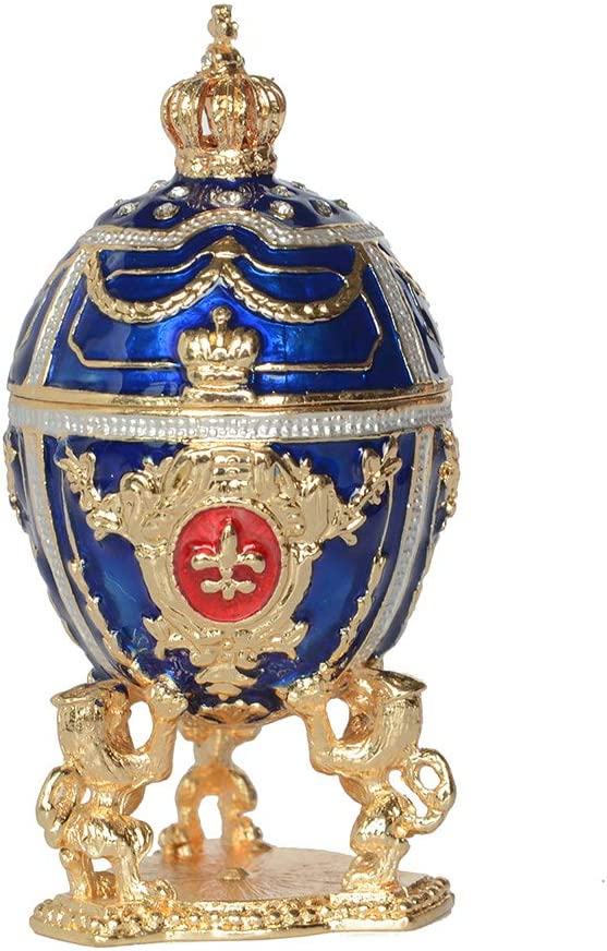 Jiaheyou Russian Faberge Egg w Lion Trinket Jewelry Box Easter Egg for Her