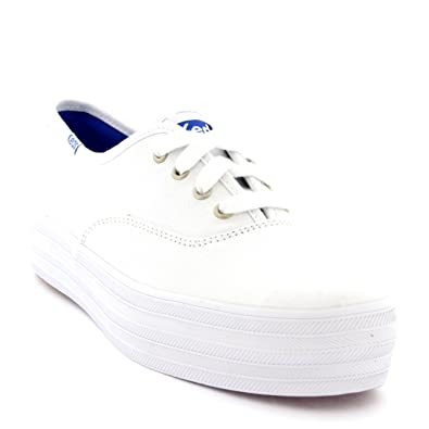 e296b07cc88b Keds Womens Champion Metallic Lea Lace Up Casual Holiday Leather White  Trainers - Silver - 8
