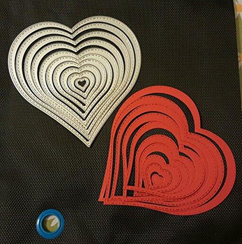 Cutting Dies Cut Metal Scrapbooking Love Heart Square Flower Star Sunflower Stencils Nesting Die for DIY Embossing Photo Album Decorative DIY Paper Cards Making Craft 9set (Set 5) by Eswala (Image #5)