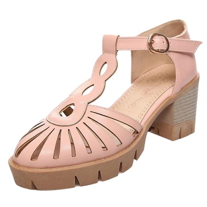 JOJONUNU Damen Cut Out Sommer Sandalen Blockabsatz Geschlossen Brown Size 40 Asian 4LyOw2v