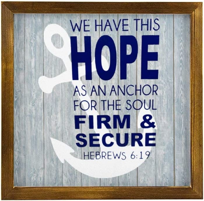 DONL9BAUER Hebrews 6:19 Nautical Quote 605017-PN6LYL-321 Wooden Framed Sign We Have This Hope as an Anchor for The Soul Bible Verse Wall Hanging Modern Farmhouse Decor Wall Art for Living Room