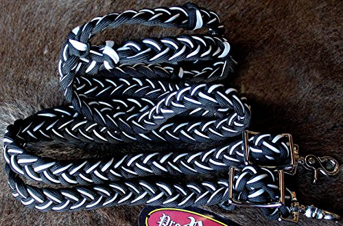 Horse Roping Knotted Tack Western Barrel Reins Nylon Braided Black White (Nylon Barrel Reins)
