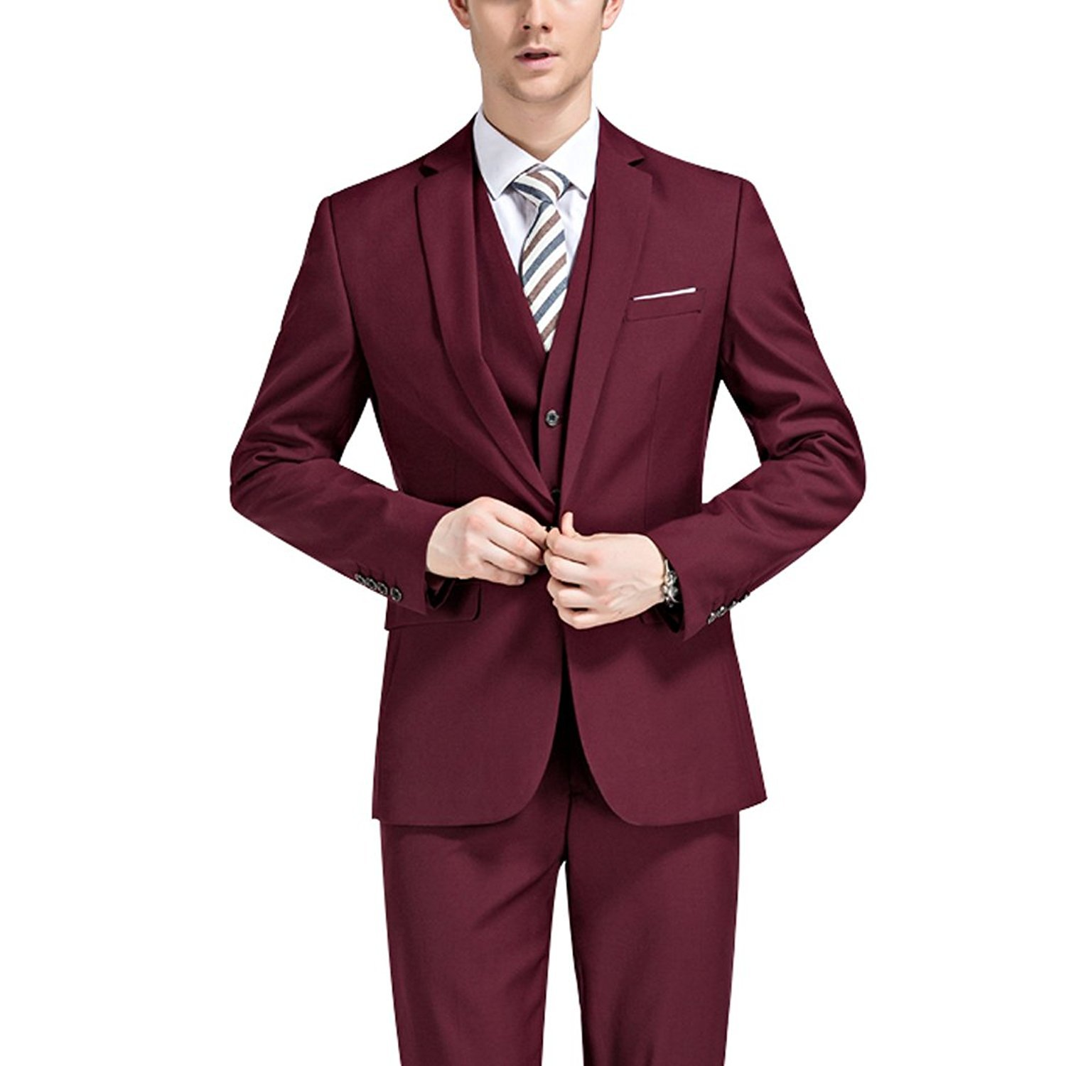 YSMO Men's Slim Burgundy 3-Piece Blazer Jacket & Vest & Pants Wedding Suits YSMO18051906