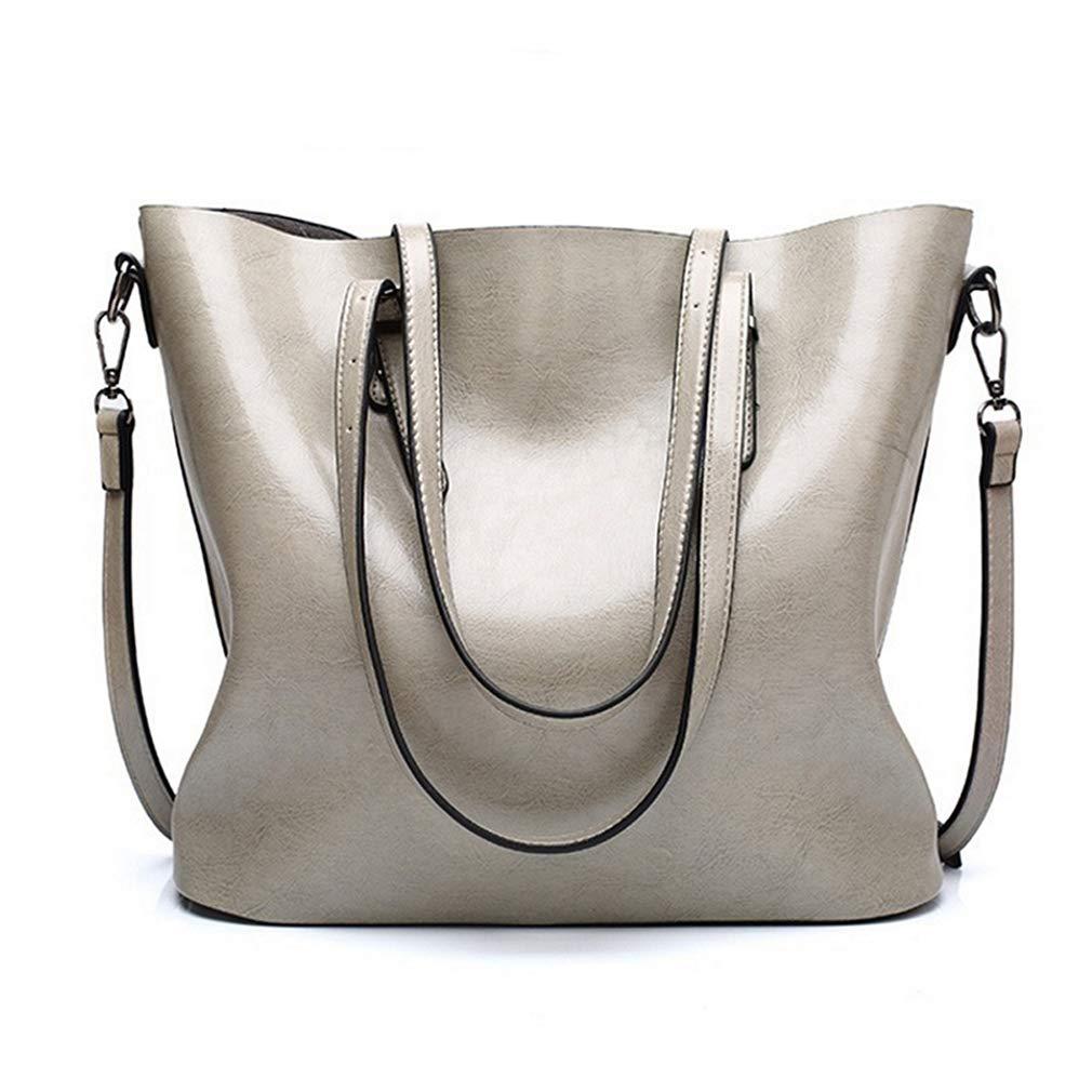 Pahajim fashion Women PU Leather Bucket Bag business Purses Waterproof Handbags Tote Top Handle Satchel Shoulder with Zipper for Ladies(Gray) by Pahajim