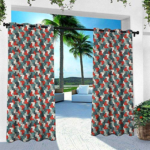 Hengshu Abstract, Outdoor Patio Curtains Waterproof with Grommets,Repeating Puzzle Mosaic Pattern with Simple Geometric Ornament Modern and Funky, W108 x L84 Inch, Multicolor