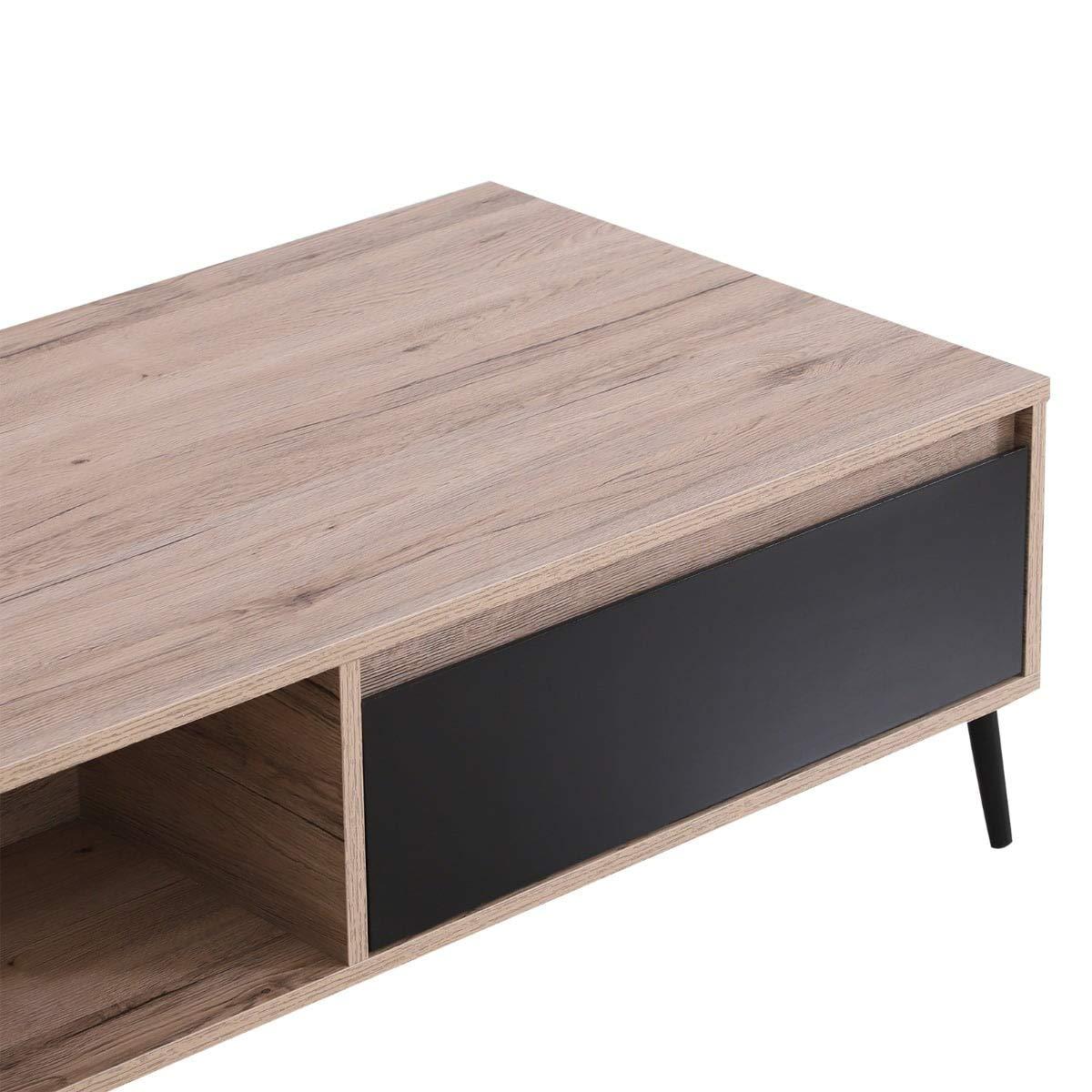 benzoni Tavolino da caff/è per Soggiorno con Cassetto Rovere e Nero 120x56x35 cm