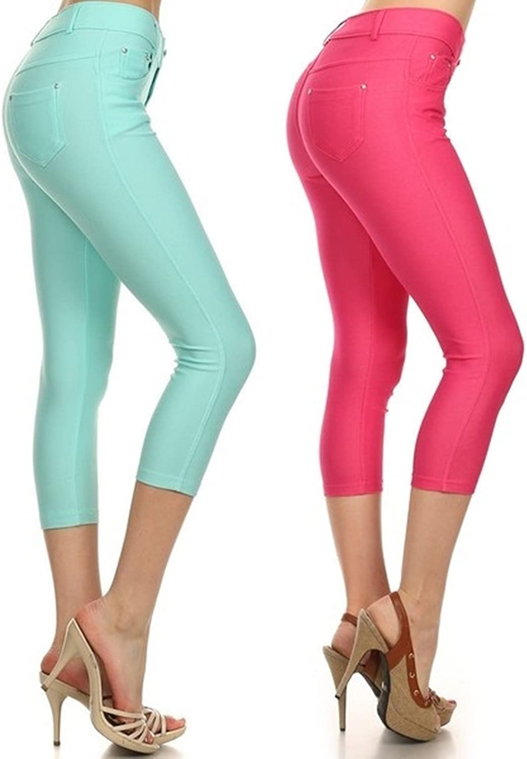 Yelete Multi Solid Color Capri Jeggings for Womon Soft and Stretchy Legging