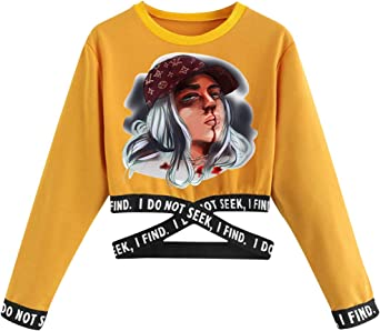 Camiseta Billie Eilish Niña, Camisetas de Manga Larga Billie Eilish Mujer Manga Cortas T-Shirt Abecedario Chicas Impresión Camiseta Billie Eilish Camisa de Otoño Camisetas y Tops: Amazon.es: Ropa y accesorios