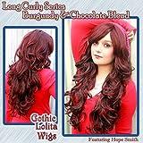 X&Y ANGEL- Long Curly Lolita Two Tone Brown & Burgundy Split Highlights Wig Wigs AQ439(33H118)