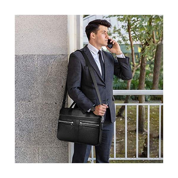 Sac à Main en Cuir Véritable Sacs Business Mallette 14 Pouces Cartable Porte Document Sacoche d'ordinateur Hommes d…