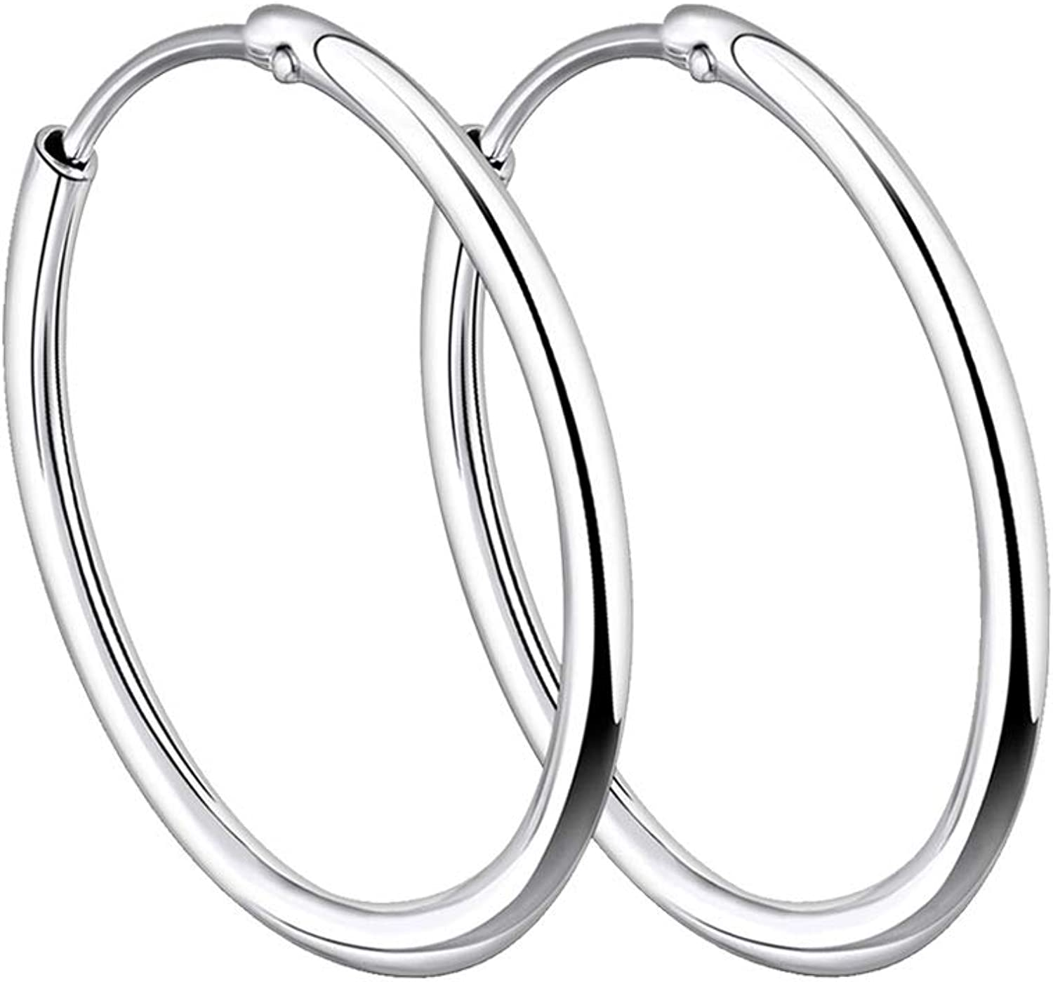 925 Sterling Silver Polished Round Endless Hoop Earrings 1.3mm x 12mm